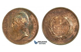 J97, Liberia, ESSAI 1 Cent 1890, Specimen Strike, Red Brown
