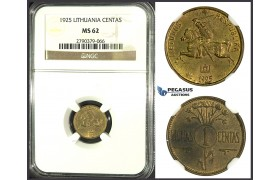 J98, Lithuania, 1 Centas 1925, NGC MS62