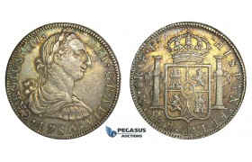 J99, Mexico, Charles III, 8 Reales 1780 Mo FF, Mexico City, Silver, Nice w. Rainbow Toning!