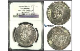 K07, Romania, Carol I, 5 Lei 1901, Hamburg, Silver, NGC UNC Details