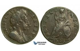 "K26, Great Britain, William III, Farthing 1696, Small ""B"" in Britannia, GVF-EF"