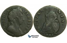 K28, Great Britain, William III, Farthing 1699, F-VF