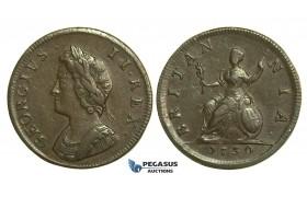 K32, Great Britain, George II, Farthing 1730, VF