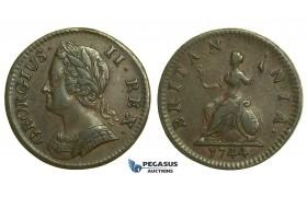 K39, Great Britain, George II, Farthing 1744, GVF