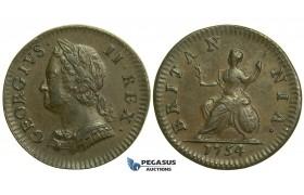 K43, Great Britain, George II, Farthing 1754, EF