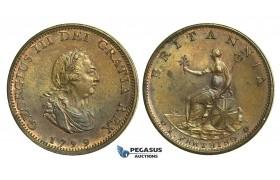 K47, Great Britain, George III, Farthing 1799, UNC Red Brown