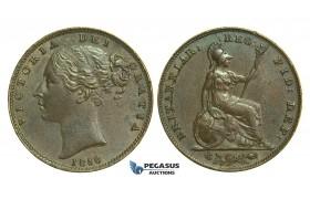 K63, Great Britain, Victoria, Farthing 1856 (Incuse WW) AEF