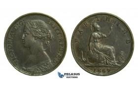 K67, Great Britain, Victoria, Farthing 1869, GVF