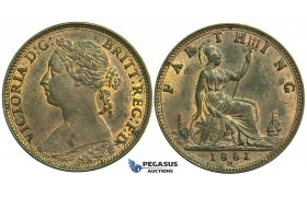 K70, Great Britain, Victoria, Farthing 1881-H, Heaton, AUNC