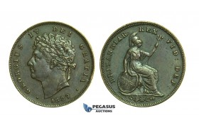 K71, Great Britain, George IV, Third (1/3) Farthing 1827, GVF-EF