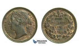 K72, Great Britain, Victoria, Third (1/3) Farthing 1866, AUNC Red Brown