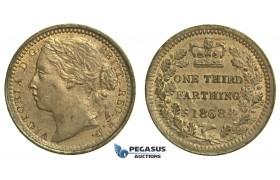 K73, Great Britain, Victoria, Third (1/3) Farthing 1868, AUNC Red