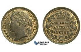 K74, Great Britain, Victoria, Third (1/3) Farthing 1876, UNC Red Brown