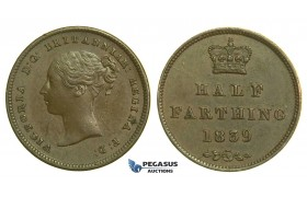K76, Great Britain, Victoria, Half (1/2) Farthing 1839, EF