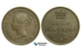K77, Great Britain, Victoria, Half (1/2) Farthing 1851, GEF