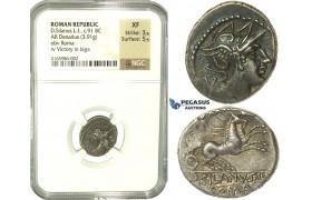 K85, Roman Republic, D. Junius Silanus L.f. (c. 91 BC) AR Denarius (3.91g) 91 BC, Rome, NGC XF