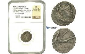 K86, Roman Republic, T. Claudius Nero (c. 79 BC) AR Denarius Serratus (3.81g) 79 BC, Rome, NGC XF