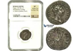 K90, Roman Empire, Trajan (98-117 AD) AR Denarius (2.99g) 100 AD, Rome, NGC XF