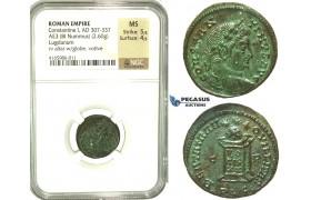 K93, Roman Empire, Constantine I (307-337 AD) AE3 (2.60g) 321-322 AD, Lugdunum (Lyon) NGC MS