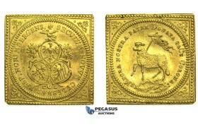 """L01, Germany, Nürnberg City, Klippe """"Lamm"""" Ducat 1700-CGL, Gold (3.46g) Nürnberg, Lustrous High Grade!"""
