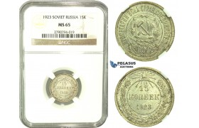 L20, Russia (Soviet Union) 15 Kopeks 1923, Silver, Leningrad, NGC MS65