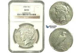 L27, United States, Peace Dollar 1928, Silver, NGC AU53, Rare!
