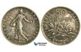L29, France, 3rd Republic, 50 Centimes 1910, Paris, Silver, SUP/SPL Dark toning!
