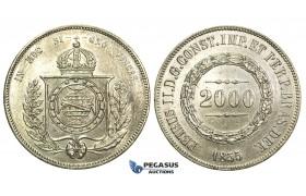 L32, Brazil, Pedro II, 2000 Reis 1855, Silver, Cleaned High Grade!