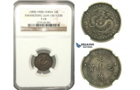 L46, China, Kwangtung, 10 Cents ND (1890-1908) Silver, NGC F15