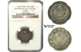 L47, China, Kwangtung, 20 Cents ND (1890-1908) Silver, NGC VF20