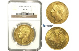 L48, Italy, Vittorio Emanuele III, 100 Lire 1903-R, Rome, Gold, NGC MS61, Very Rare!