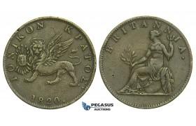 L50, Greece, Ionian Islands (British) 2 Lepta 1820, Nice!