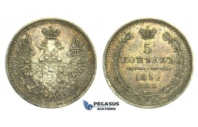 L55, Russia, Nicholas I, 5 Kopeks 1852 СПБ-ПА, St. Petersburg, Silver, Toned High Grade!