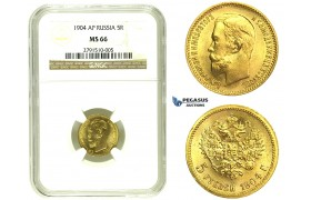 L66, Russia, Nicholas II, 5 Roubles 1904 (AP) Gold, NGC MS66