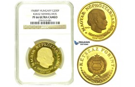 "L67, Hungary, ""Semmelweis"" 200 Forint 1968-BP, Budapest, Gold, NGC PF66 Ultra Cameo"