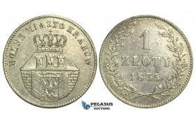 L77, Poland, Republic of Krakow (1835) Zloty 1835, Vienna, Silver, Rare!