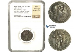 L79, Italy, Bruttium, The Brettii, AR Drachm (4.73g) ca. 216-214 BC (Second Punic War) Dark Patina, Rare! NGC AU