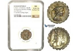 L81, Roman Republic, C. Mamilius Limetanus (82 BC) AR Denarius Serratus 82 BC (4.04g) Rome, Lovely Patina, NGC MS