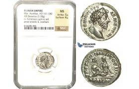 L84, Roman Empire, Marcus Aurelius (161-180 AD) AR Denarius 164 AD (3.38g) Rome, Armenia, As Struck, NGC MS