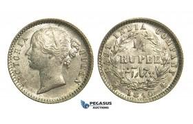L87, East India Company, Victoria, 1/4 Anna 1840, Calcutta, Silver, High Grade!