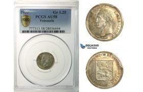 L88, Venezuela, 1/4 Bolivar 1900, Paris, Silver, PCGS AU58, Rare!