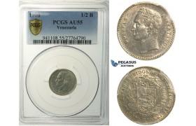 L89, Venezuela, 1/2 Bolivar 1900, Paris, Silver, PCGS AU55, Rare!