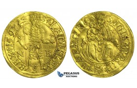 L96, Transylvania, Sigismund Bathori, Ducat 1597 N-B, Nagybanya, Gold (3.48g) VF-EF