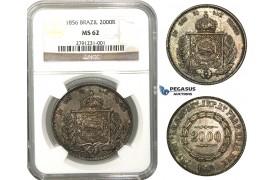 L97, Brazil, Pedro II, 2000 Reis 1856, Silver, NGC MS62, Dark Toning!