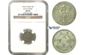 L98, China, Kiau Chau, 5 Cents 1909, NGC AU55