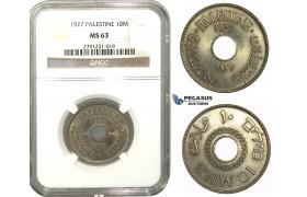 M15, Palestine, 10 Mils 1927, NGC MS63