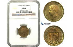 M16, Romania, Mihai I, 5 Lei 1930, London, NGC MS64