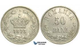 M20, Romania, Carol I, 50 Bani 1873, Silver, Brussels, Nice!