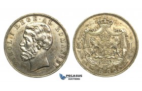 M22, Romania, Carol I, 5 Lei 1882, Bucharest, Silver, High Grade (Light cleaning)