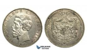 M23, Romania, Carol I, 5 Lei 1883, Bucharest, Silver, Nice!
